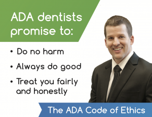 Image of Dr. Brad Alderman and the ADA code of ethics. Dr. Alderman believes in promoting a healthy lifestyle, which includes the cessation of using E-cigarettes.