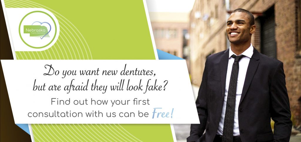 """Image of a banner asking """"Do you want new dentures, but are afraid they will look fake?"""""""