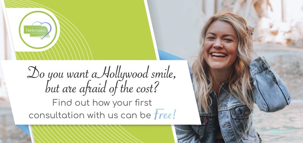 "Image of a banner from Coddington Dental in Lincoln, NE asking, ""Do you want a Hollywood smile, but are afraid of the cost?"" Cosmetic dentures might be the answer."