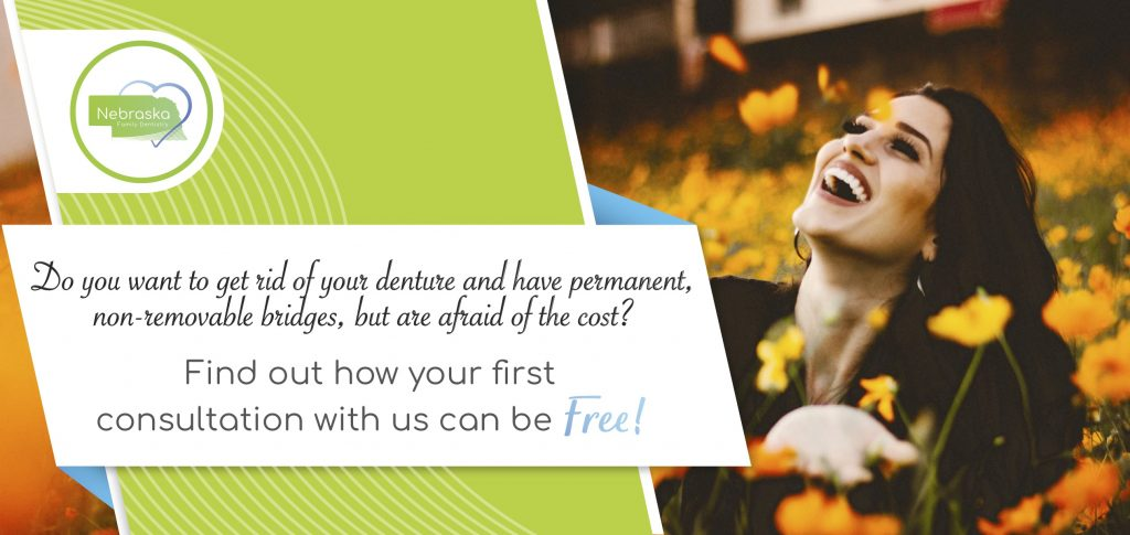 "Image of a banner ""Find out how your first consultation can be free"" if you want to learn more about implant dentures."