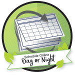 Image of the schedule day or night logo. Schedule online day or night for routine cleanings or a lost crown, we're here to help.